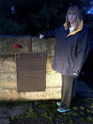 Kerri Morley at the monument to Percy Statton at Ouse in the Derwent Valley.