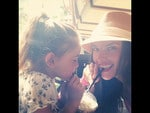"""Alessandra Ambrosio and daughter Anja, """"Sharing some serious milkshake"""" Picture: Instagram"""