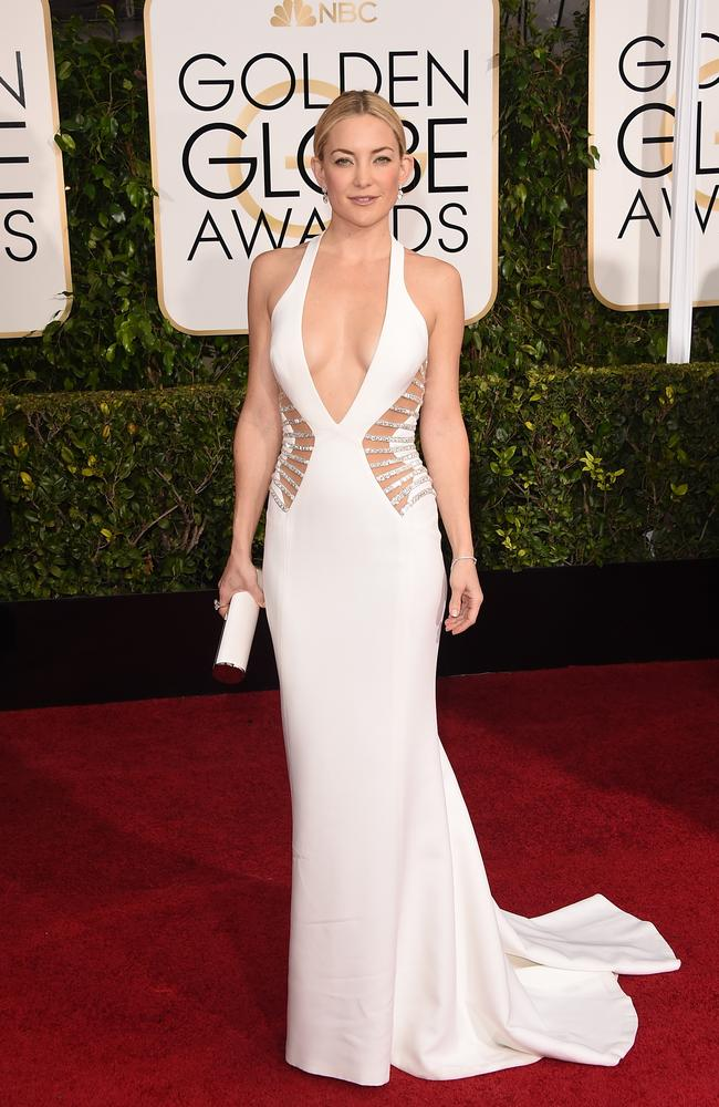 Kate Hudson wore revealing Versace to the Golden Globes in 2016.