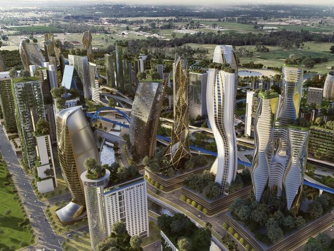 A concept image of how the future Aerotropolis might look in 2040. Picture: Arterra Interactive
