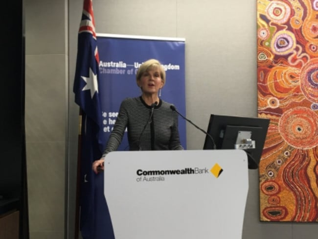 Foreign Minister Julie Bishop spoke in London at an Australia-United Kingdom Chamber of Commerce event. Picture: Twitter/Alexander Downer