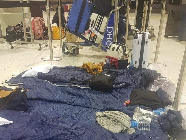 Passengers given sleeping bags after flights were grounded in Tokyo. Picture: Supplied/Storyful