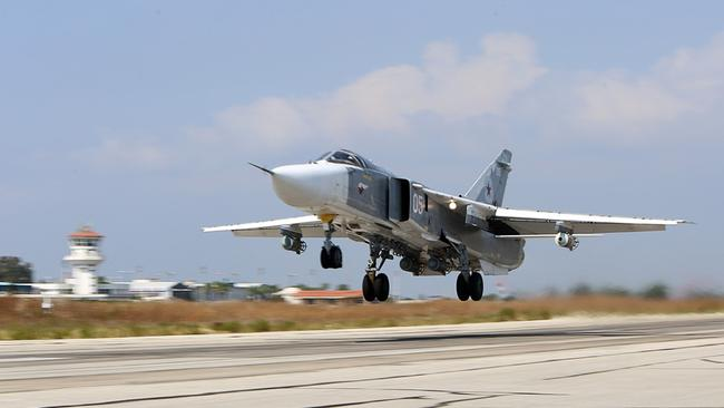 Downed jet ... A file picture taken on October 3, 2015 shows a Russian Sukhoi Su-24 bomber like the one shot down late yesterday. Here a 'Fencer' takes off the Hmeimim air base in the Syrian province of Latakia. Source: AFP