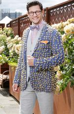 Rob Mills pictured with his 20kg cup jacket at the 2016 Melbourne Cup held at the Flemington Racecourse in Melbourne. Picture: Christian Gilles