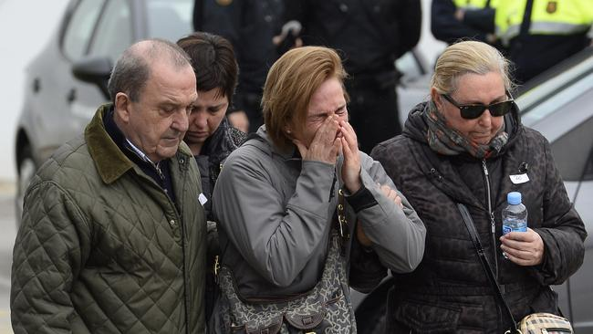 Tragic ... Relatives arrive at Barcelona airport in Spain after hearing news of the plane crash. Picture: AP