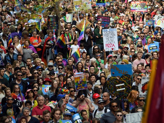Sydneysiders rally for same-sex marriage. Picture: Daniel De Carteret