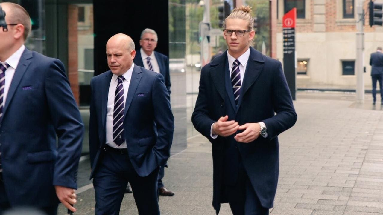Nat Fyfe has arrives for his tribunal hearing this week.