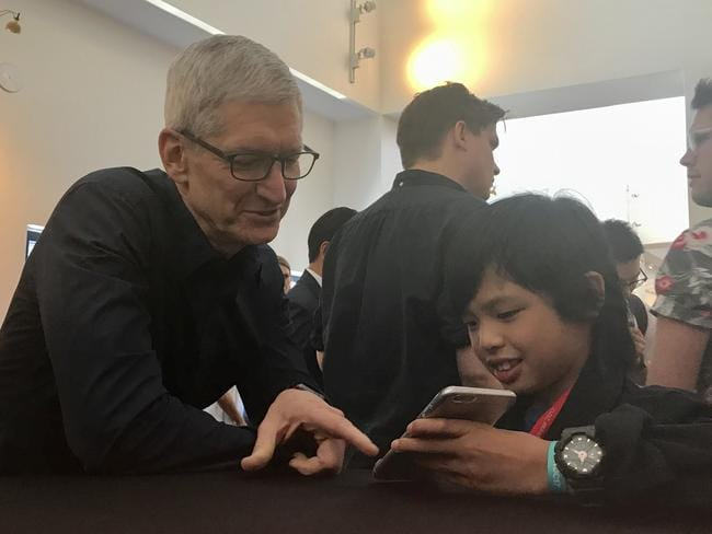 Apple CEO Tim Cook with Yuma's apps when the two met at Apple's Worldwide Developers Conference. Picture: Rod Chester