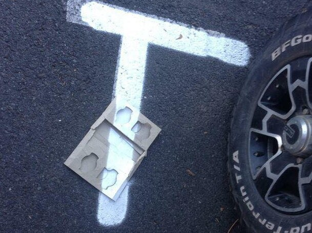 This line was painted manually and they still couldn't move the item. Picture: Facebook