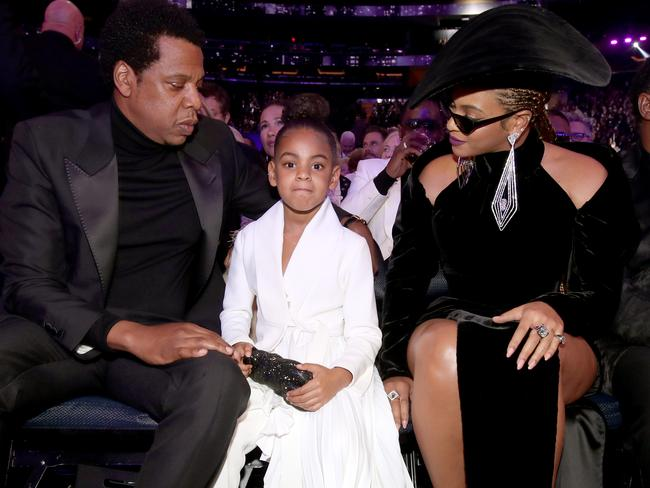 Jay-Z, Blue Ivy and Beyonce attend the 60th Annual GRAMMY Awards. Picture: Getty