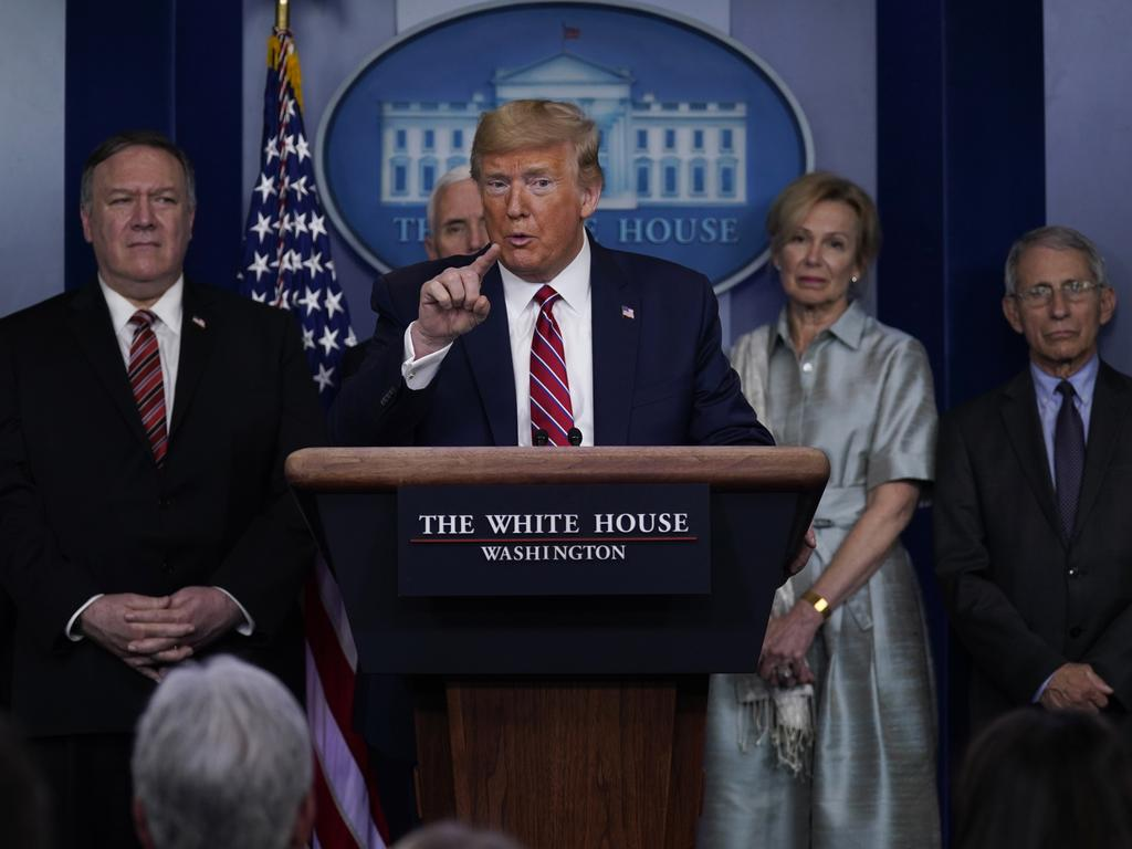President Donald Trump speaks during a coronavirus task force briefing at the White House. Picture: AP