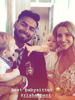 Picture shows Bonnie Paine with 'Best babysitter' Rishabh Pant.