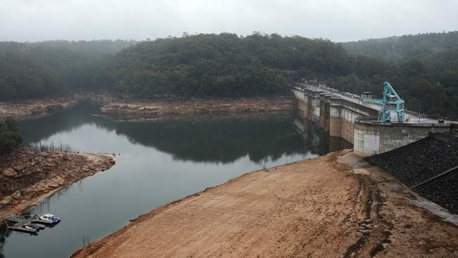 Low water levels at NSW's Warragamba Dam. Picture: Toby Zerna