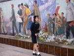 A member of staff awaits the arrival of a train on the Pyongyang metro on August 21, 2018 in Pyongyang. Picture: Carl Court/Getty Images