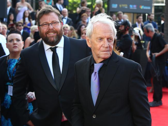 Shane Jacobson and Paul Hogan pictured arriving at the 2016 AACTA Awards. Picture: Richard Dobson