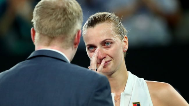 Petra Kvitova breaks down during her post-match interview at the Australian Open. Source: Getty Images