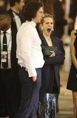 Adam Driver's wife Joanne Tucker is all of us after a big night out. Picture: Max Lopes- Vasquez-clint / BACKGRID