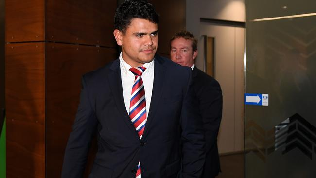 Sydney Roosters player Latrell Mitchell departs the hearing. Picture: AAP