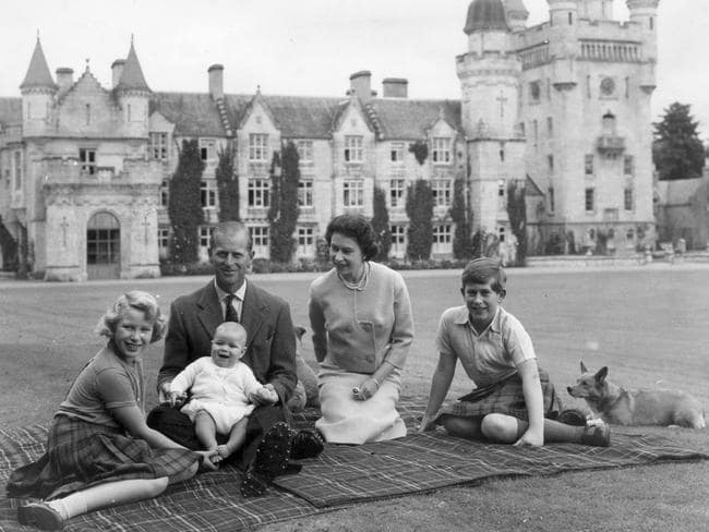 September 1960: Queen Elizabeth and Prince Philip and infant Prince Andrew, Princess Anne (left) and Prince Charles, right, at Balmoral Castle in Scotland. Picture: Keystone.