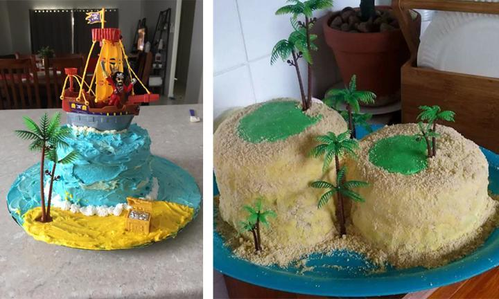 "With some ""sandy"" icing and tropical decorations, your Coles cake will be ready to hit the high seas!  <br />Images: Facebook  <br />"