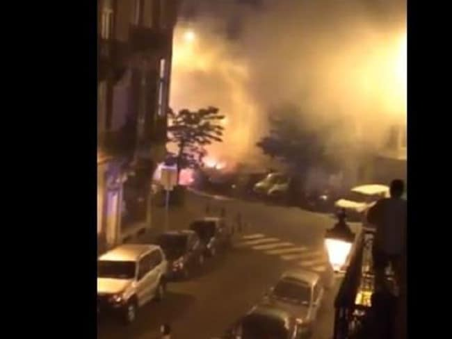 A video still which reportedly shows the blasts which rocked Saint-Gilles.