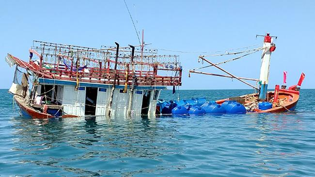 An abandoned fishing boat in the Daintree near Cape Kimberley in Queensland that dozens of Vietnamese asylum seekers arrived on in 2018. Picture: AFP