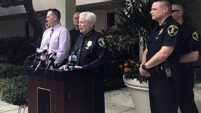 Jupiter, Fla., Police Chief Daniel Kerr speaks during a news conference Friday, Feb. 22, 2019, in Jupiter, Fla., where they announced that they have charged New England Patriots owner Robert Kraft with misdemeanour solicitation of prostitution. (Olivia Hitchcock/Palm Beach Post via AP)