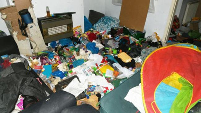 Shocking pictures show piles of rubbish in a home where a seven-year-old boy was neglected. Picture: BPM Media/australscope