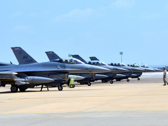 US Air Force F-16 Fighting Falcons sitting on the tarmac at the Incirlik Air Base in Turkey. Picture: AFP PHOTO / HANDOUT / US AIR FORCE / SR. AIRMAN MICHAEL BATTLE