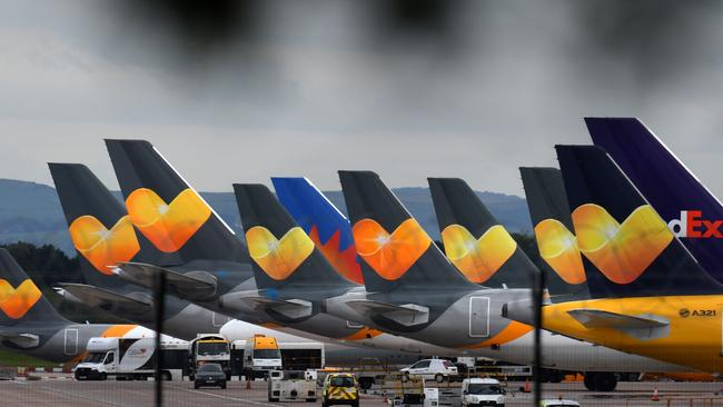 As Thomas Cook aircraft sit grounded, other airlines are cashing in on their collapse. Picture: Oli Scarff / AFP