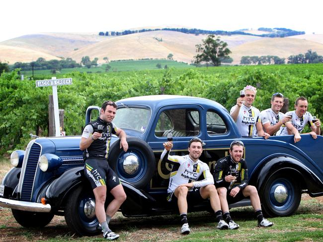 The HTC-Highroad team, including sprint star Mark Cavendish, enjoy an afternoon at the Jacob's Creek Visitor Centre in 2011.