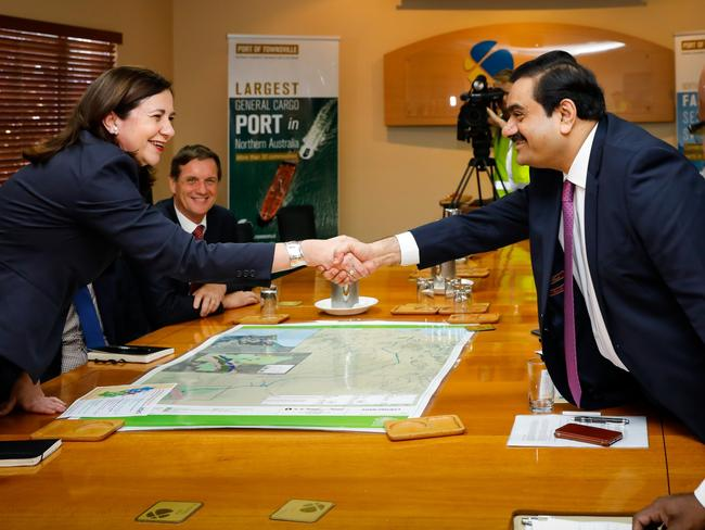 Adani Group chairman Gautam Adani meets with Queensland premier Annastacia Palaszczuk at the Port of Townsville in December 2016. Picture: Cameron Laird/AAP