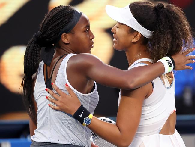 Coco Gauff consoling Naomi Osaka after her incredible victory