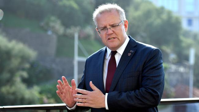 ScoMo at a news conference in France.