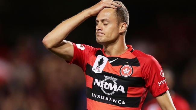 Striker Oriol Riera rues a missed opportunity. (Photo by Matt King/Getty Images)
