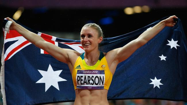 Pearson celebrates after taking gold at the Olympics in 2012.