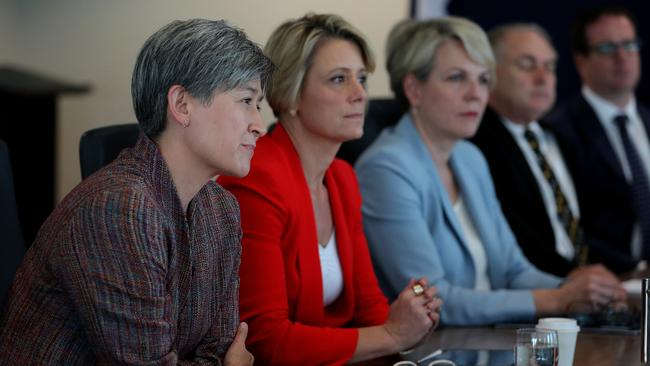 Shadow Minister for Foreign Affairs Penny Wong and a full shadow ministry meeting in Perth last week. Picture: AAP