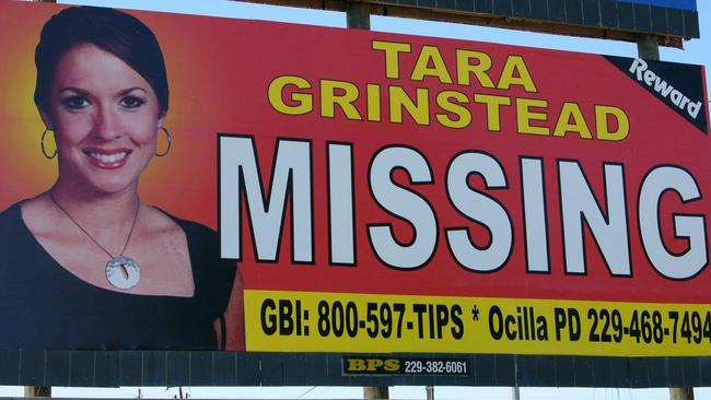 A photo of missing teacher Tara Grinstead is prominently displayed on a billboard in Ocilla. Picture: Elliott Minor
