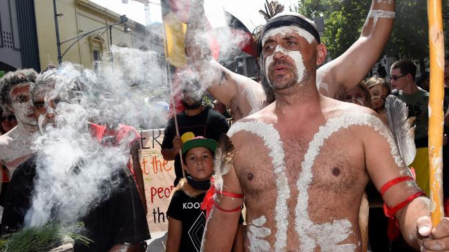 Protesters said white Australians should respect the negative meaning of the day for Aboriginal people. Picture: Nicole Garmston Source: News Corp Australia