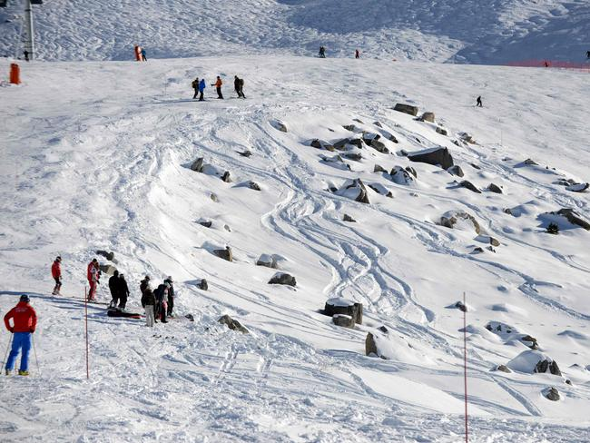 A file photo taken on December 31, 2013 in the French Alps ski resort of Meribel shows the rocky part between two slopes where German retired Formula One legend Michael Schumacher had an accident on December 29. Picture: AFP