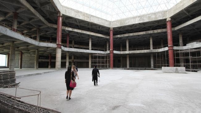 Massive cast concrete floors and pillars inside the doomed Ryugyong in central Pyongyang. Picture: Koryo Tours