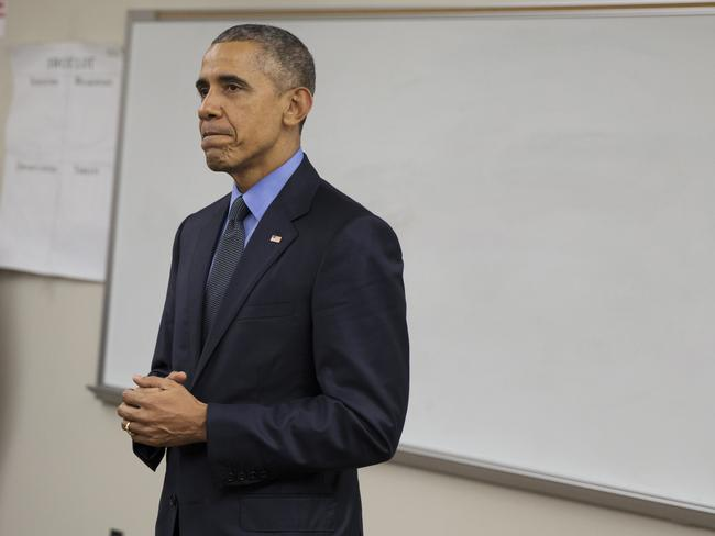 Chief ... President Barack Obama delivers a statement at Indian Springs High School after meeting with families affected by the mass shooting in San Bernardino, California. Picture: AP Photo/Evan Vucci