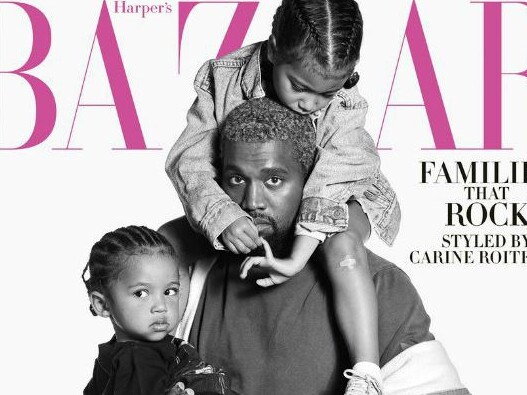Kanye West with his children North and Saint on cover of Harper's Bazaar