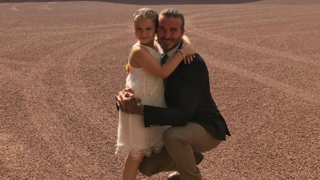 Harper and dad David Beckham. Photo: Instagram
