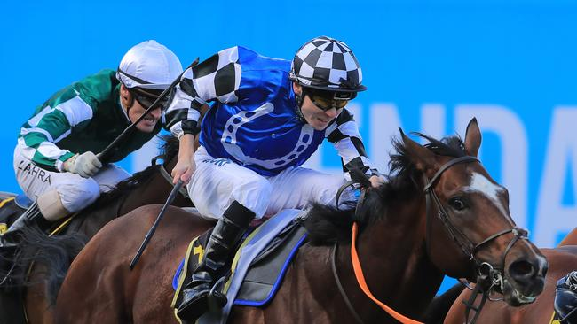 Jamie Spencer rides Chief Ironside to victory in the Schweppes Crystal Mile on Cox Plate Day at Moonee Valley Racecourse on October 26, 2019. Picture: Mark Evans, Getty Images