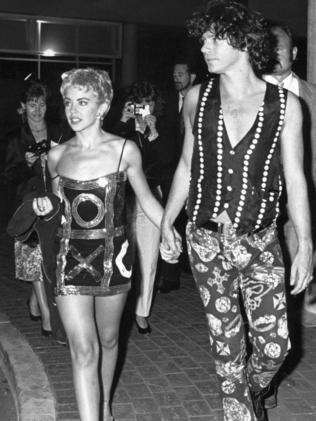Kylie Minogue with ex-boyfriend, the late Michael Hutchence, in 1989. Picture: Supplied