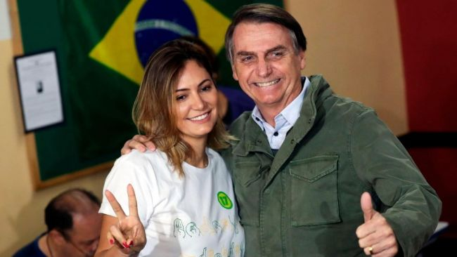 Michelle became Bolsonaro's third wife in 2007. Image: Getty
