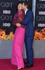 """Chilean actor Pedro Pascal and British actress Indira Varma arrive for the """"Game of Thrones"""" eighth and final season premiere at Radio City Music Hall on April 3, 2019 in New York city. (Photo by Angela Weiss / AFP)"""