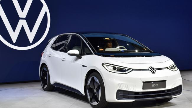 Volkswagen's new electric car ID. 3 on display at the 2019 Frankfurt motor show. (Photo by Kyodo News via Getty Images)