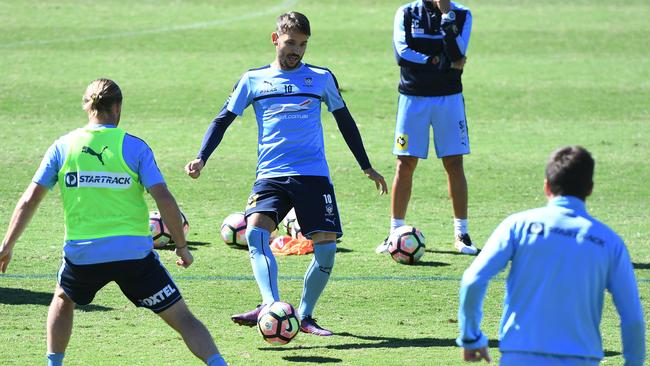 Sydney FC's Milos Ninkovic trains on Friday.